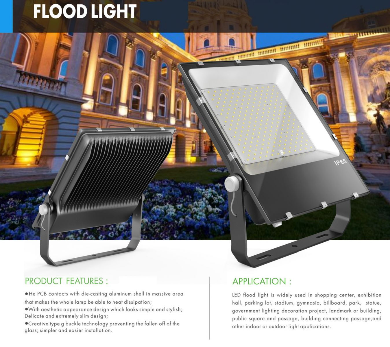 High Lumen Ultra Slim Outdoor Led Flood Lights Waterproof