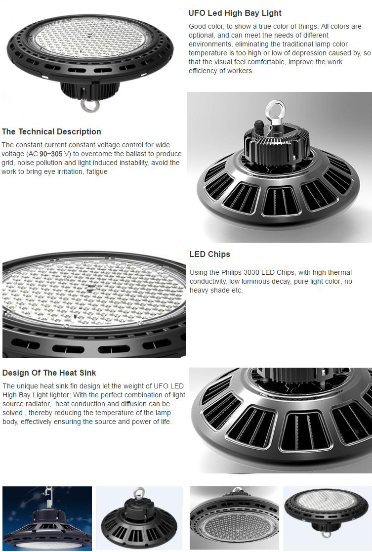 100w Ufo Led High Bay Lights Industrial 130lm W 300w