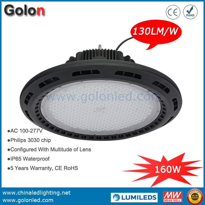 Industrial LED High Bay Lighting Fixtures 160w 130lm/w Low